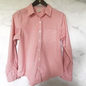 L.L. Bean Gingham Check Spring Button Down Shirt